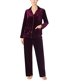 Notch Collar Velvet Pajama Set