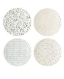 Textured Neutrals Tidbit Plates Set/4 Assorted