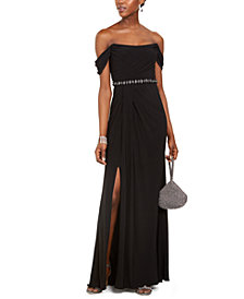 Adrianna Papell Pleated Jersey Column Gown