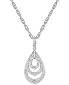 """Diamond Triple Teardrop 18"""" Pendant Necklace (5/8 ct. t.w.) in 14k White Gold"""