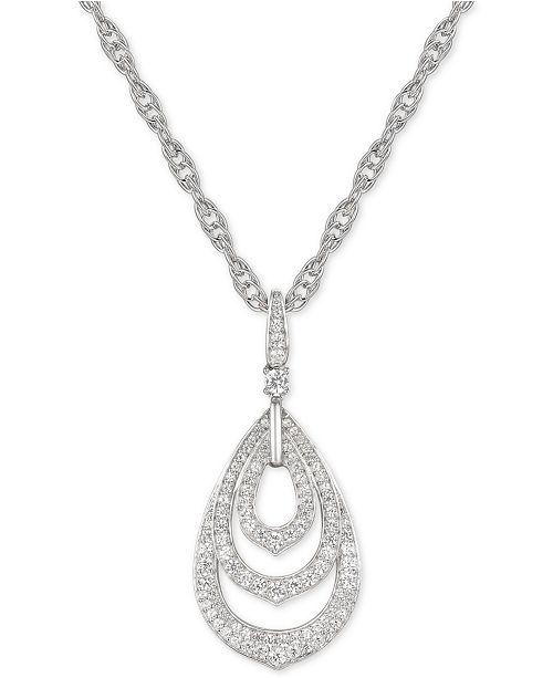 """Macy's Diamond Triple Teardrop 18"""" Pendant Necklace (5/8 ct. t.w.) in 14k White Gold"""