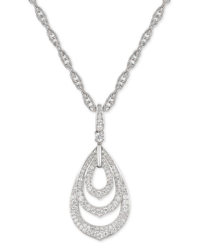 """Macy's - Diamond Triple Teardrop 18"""" Pendant Necklace (5/8 ct. t.w.) in 14k White Gold"""