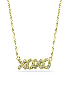 "Cubic Zirconia ""XOXO"" Nameplate Necklace in 18k Gold Plated Sterling Silver"