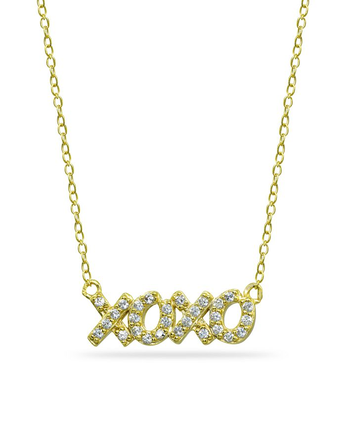 """Giani Bernini - Cubic Zirconia """"XOXO"""" Nameplate Necklace in 18k Gold Plated Sterling Silver"""
