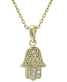 Cubic Zirconia Hamsa Pendant in 18k Gold Plated Sterling Silver