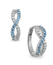 White and Blue Cubic Zirconia Infinity Huggie Hoop Earrings in Sterling Silver