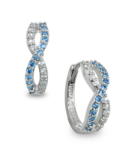 Giani Bernini White and Blue Cubic Zirconia Infinity Huggie Hoop Earrings in Sterling Silver