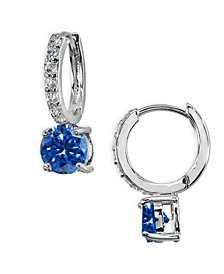 Colored Cubic Zirconia Huggie Hoop Earrings in Sterling Silver