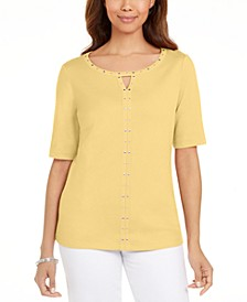 Cotton Keyhole Studded Top, Created For Macy's