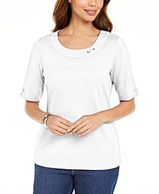 Petite Cotton Double-Ring Top, Created for Macy's