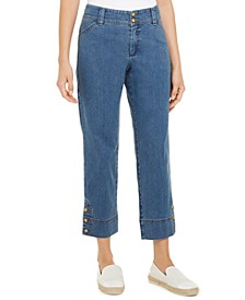 Cropped Button-Cuff Jeans, Created for Macy's