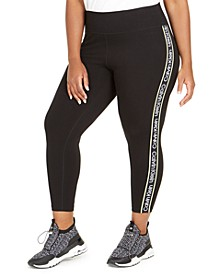 Plus Size Logo-Side Cropped Leggings