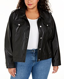 Plus Size Button-Front Faux-Leather Jacket