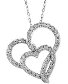 Diamond Double Heart Adjustable Pendant Necklace (1 ct. t.w.) in 14k White Gold