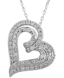 "Diamond Double Heart Pendant Necklace (1 ct. t.w.) in 14k White Gold, 16"" + 2"" extender"