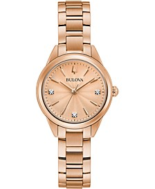 Women's Sutton Diamond-Accent Rose Gold-Tone Stainless Steel Bracelet Watch 28mm