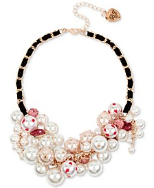 """Rose Gold-Tone Crystal & Imitation Pearl Ribbon-Woven Statement Necklace, 16"""" + 3"""" extender"""