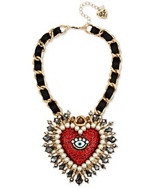 "Two-Tone Crystal & Imitation Pearl Evil Eye Heart Ribbon-Woven Pendant Necklace, 15"" + 3"" extender"
