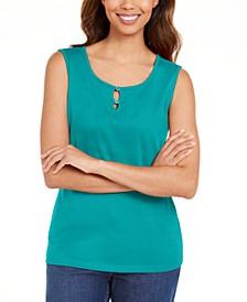 Button-Trim Keyhole Tank, Created for Macy's