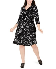 Plus Size Polka-Dot Ruffled Wrap Dress