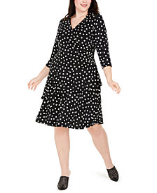 Robbie Bee Plus Size Polka-Dot Ruffled Wrap Dress