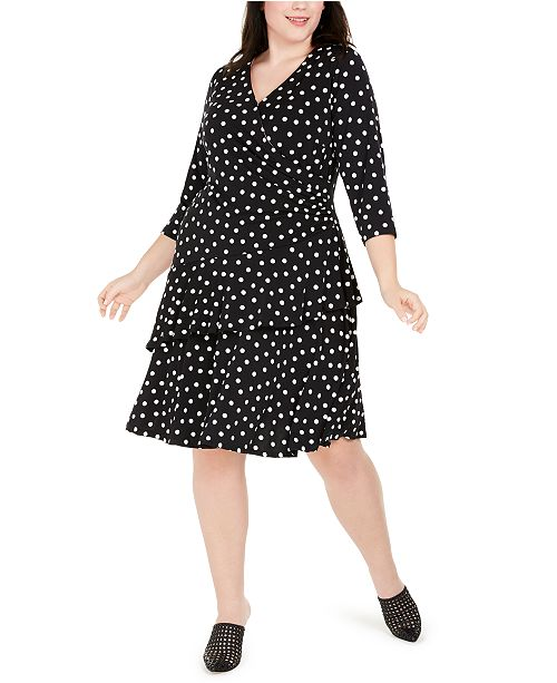 Robbie Bee Plus Size Polka-Dot Ruffled Wrap Dress
