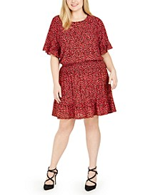 Plus Size Printed Ruffle-Trim Dress