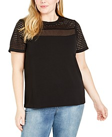 Plus Size Mesh-Yoke Top