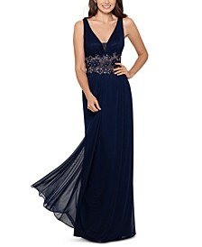 V-Neck Illusion-Waist Gown