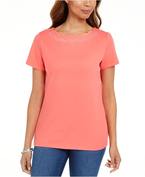 Karen Scott Cotton Scalloped-Neck T-Shirt, Created for Macy's