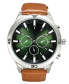 INC Men's Brown Faux Leather Strap Watch 50mm, Created for Macy's