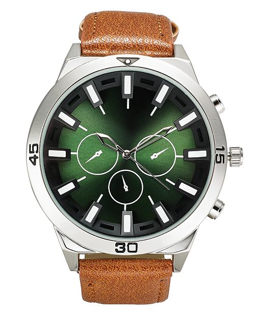 INC International Concepts INC Men's Brown Faux Leather Strap Watch 50mm, Created For Macy's