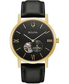Men's Automatic Clipper Black Leather Strap Watch 42mm
