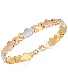 Hearts & Kisses Link Bracelet in 18k Tri-Color Gold-Plated Sterling Silver, Created for Macy's