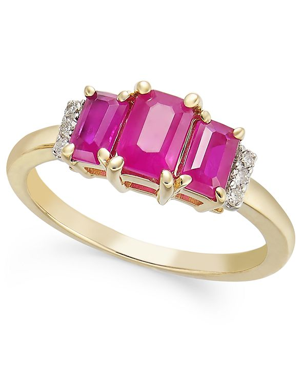Macy's Certified Ruby (3/4 ct. t.w.) & Diamond (1/20 ct. t.w.) Three-Stone Ring in 14k Gold