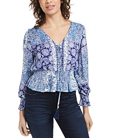 Juniors' Lace-Up Smocked-Waist Top