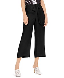 INC Petite Solid Tie-Front Culottes, Created For Macy's