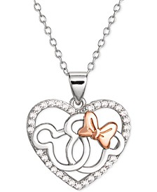 "Cubic Zirconia Interlocking Mickey & Minnie Heart 18"" Pendant Necklace in Sterling Silver & 18k Rose Gold-Plate"