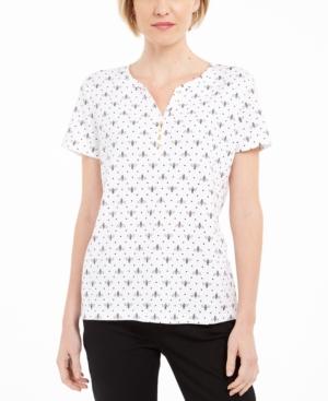 Karen Scott Bee-Print Henley T-Shirt, Created for Macy's