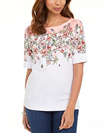Floral-Print Boatneck T-Shirt, Created for Macy's