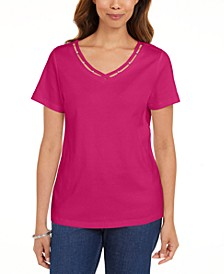 Cotton Open-Trim V-Neck T-Shirt, Created for Macy's