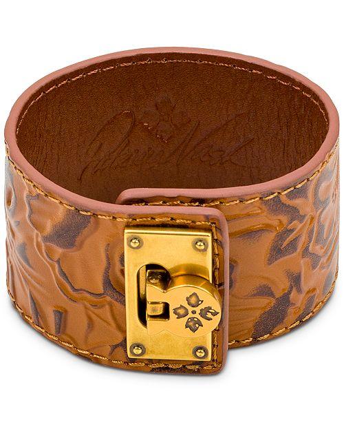 Patricia Nash Bark Leaves Leather Cuff Bracelet