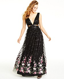 Juniors' Embroidered-Hem Sequin Gown