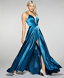 Petite Laced-Back Satin Ball Gown