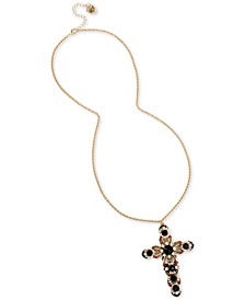 """Gold-Tone Crystal & Imitation Pearl Ornate Cross Pendant Necklace, 30"""" + 3"""" extender"""