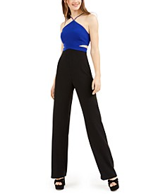 Apron-Neck Colorblocked Jumpsuit
