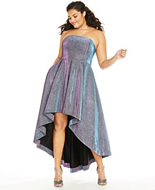 Trendy Plus Size Iridescent Metallic High-Low Dress