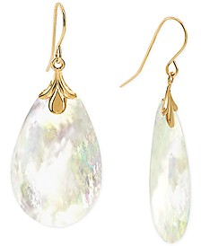 Mother-of-Pearl Drop Earrings in 10k Gold
