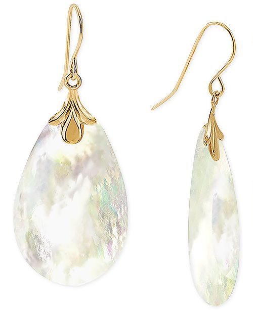 Macy's Mother-of-Pearl Drop Earrings in 10k Gold