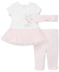 Baby Girls 3-Pc. Bow Headband, Dress & Pants Set